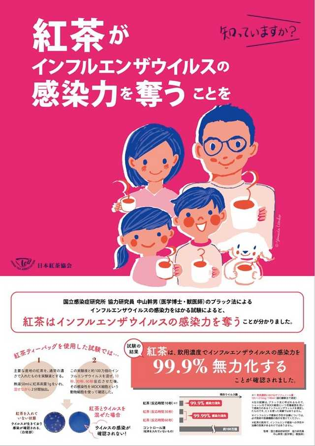 日本紅茶協会「紅茶がインフルエンザの感染力を99.9%無力化することが分かりました!!!」