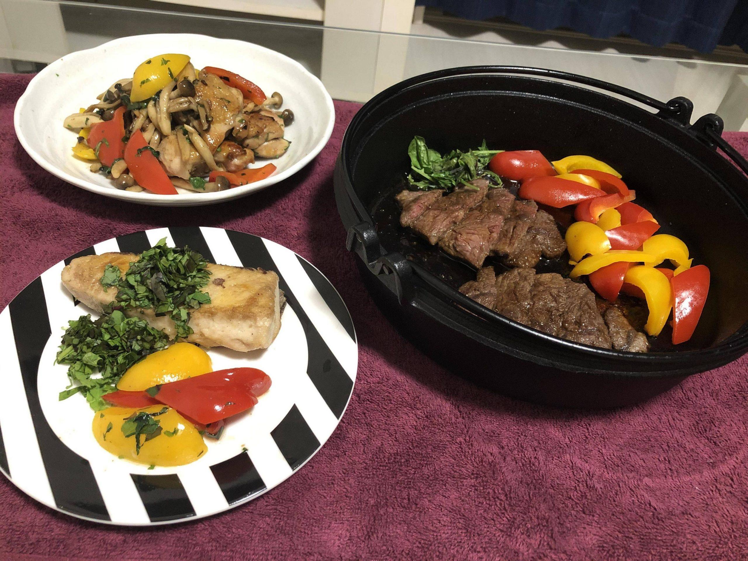 イタリアン風料理「バジルチキンと鰤のムニエルとステーキ」作った