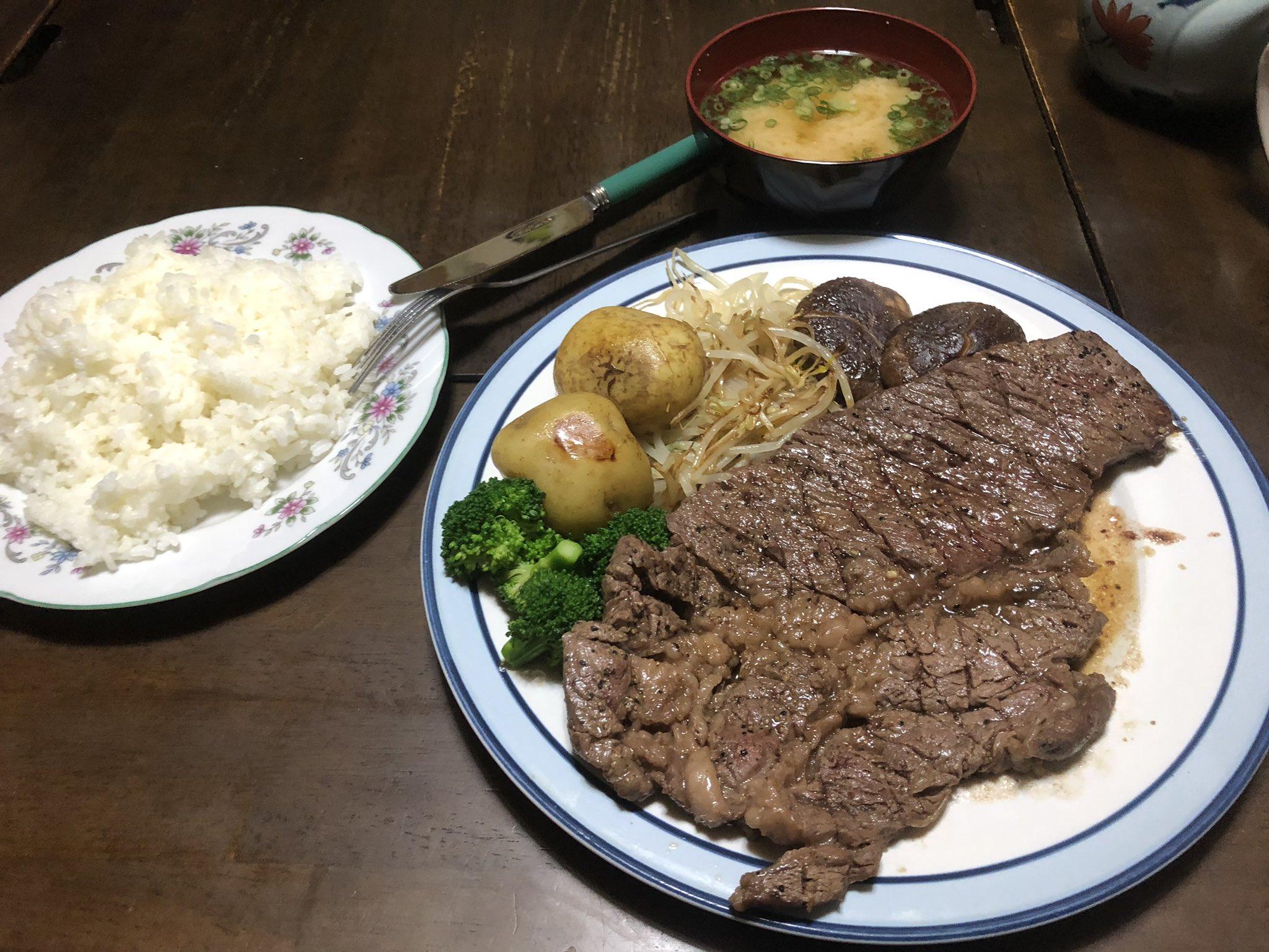 【画像】ガチニートの作ったステーキ定食wwwwwwwww