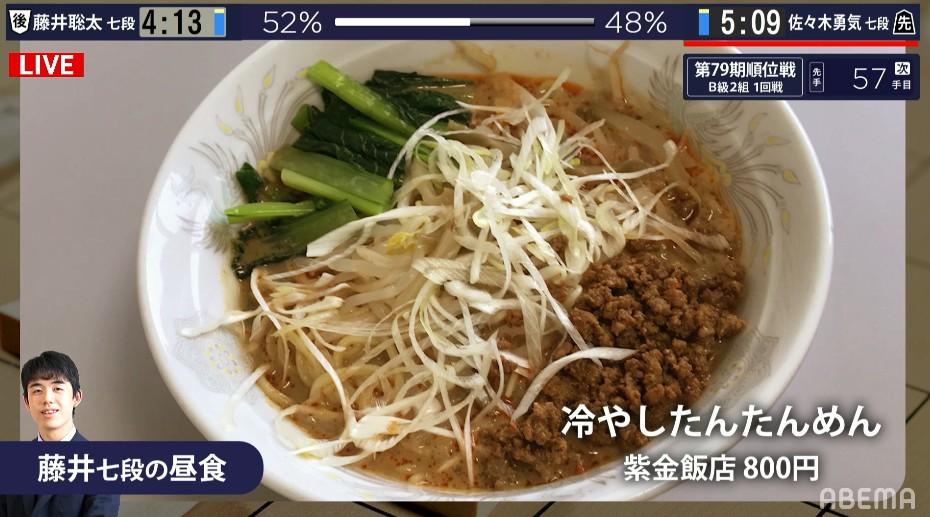 【画像】藤井聡太七段さん、本日の昼食「冷やしたんたんめん」