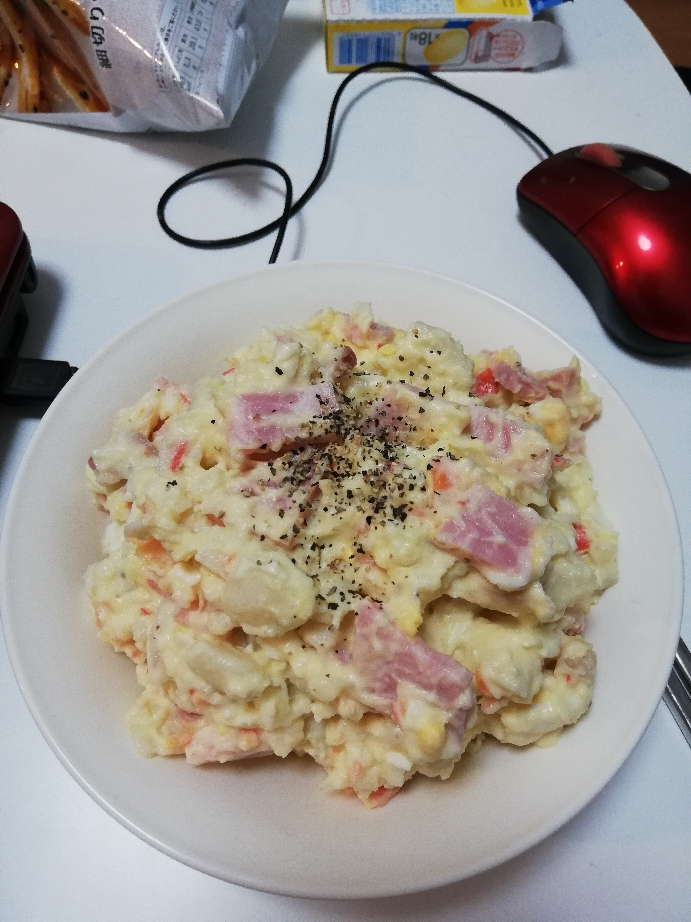 【画像】独身女(28)が深夜にポテトサラダ作ったったwwwwwwwwwwww