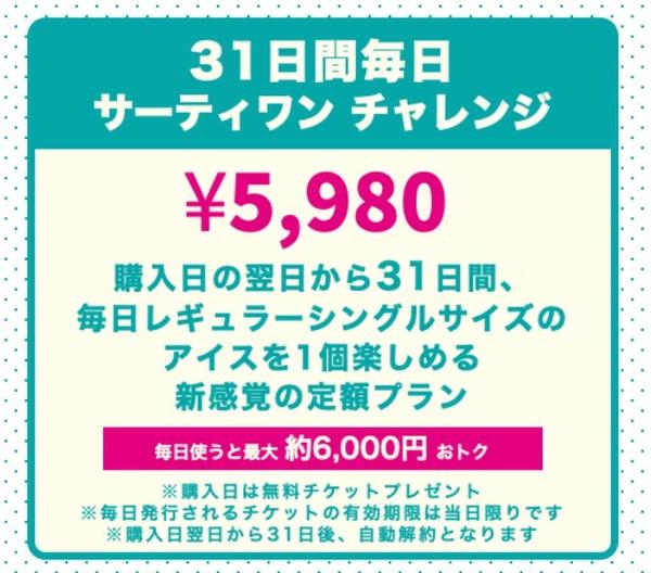 サーティワンサブスク始動!31日間アイスを食べて5980円
