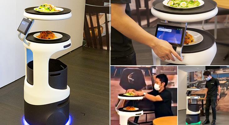 配膳ロボット「Servi」(サービィ)を公開 デニーズ、とんでん、焼肉きんぐ、コスモポリタン等が導入 ソフトバンクロボティクス