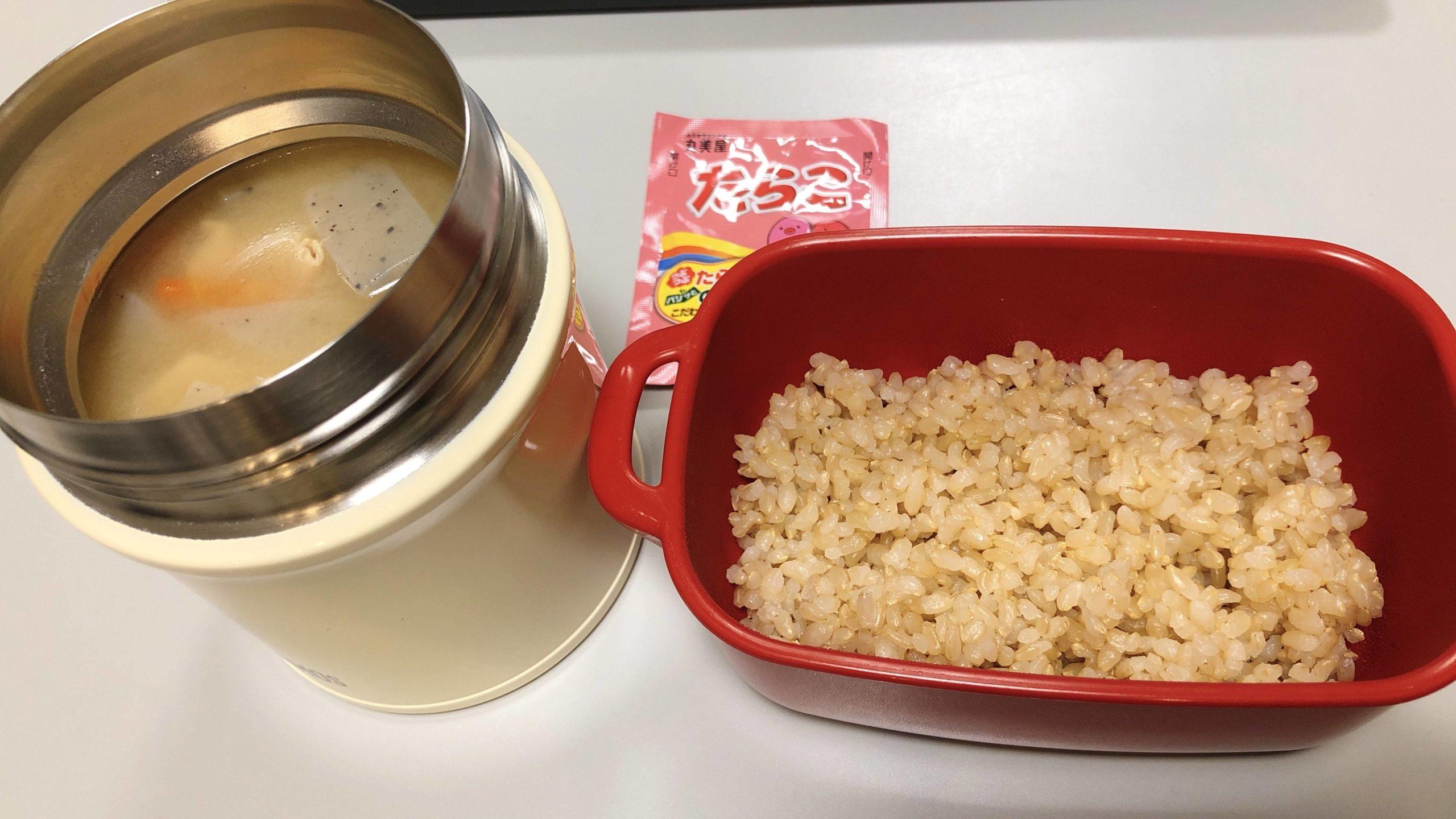 【画像】寒いから豚汁弁当作ってきた