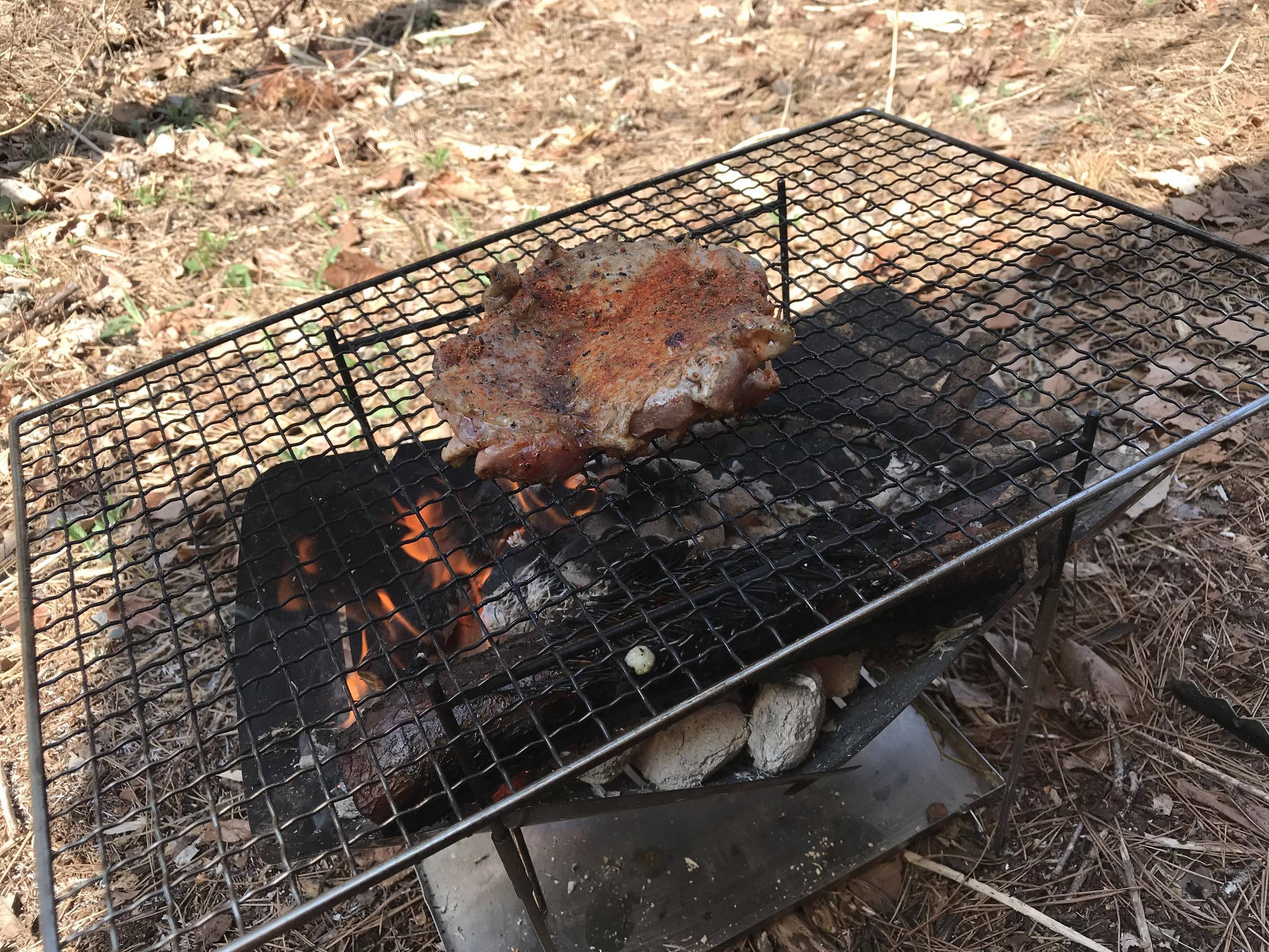 【画像】天気良いから鶏肉焼いてる